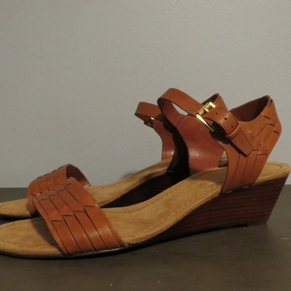 b23a0b4b42d Lauren Ralph Lauren Shoes - Ralph Lauren Woven Cognac Wedge Sandals Sz 10B